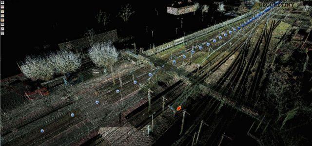 Wizualizacja chmury punktów w natężeniu / Stacja Białystok, kładka dla pieszych